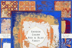 Garden Papers Red & Blue Fancy