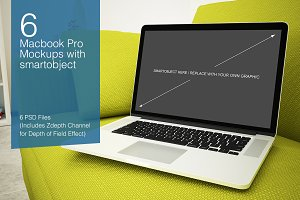 Macbook Mockup - 6 poses - Vol.1