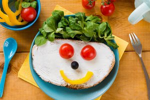 Funny face breakfast for kids