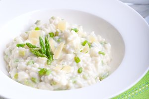 Risotto with Asparagus in a white plate