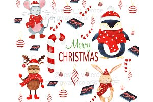 Chrristmas clipart, winter clipart