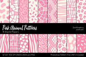 Pink Animal Digital Papers