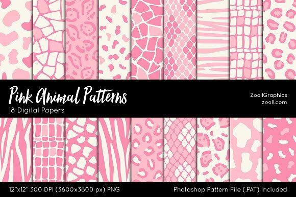 Pink Animal Digital Papers