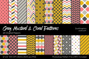 Gray, Mustard & Coral Digital Papers