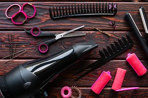 barber set, hair curlers, scrunchies