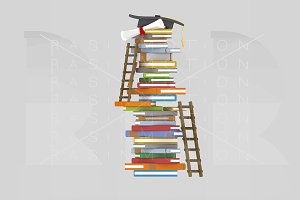 3d. Books tower and ladders.