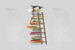 3d. Ladder on books tower