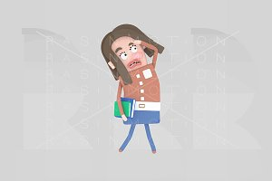 3d.  Student woman looking worried