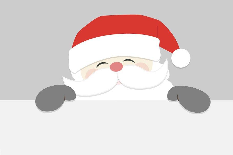 Santa Peeking | Custom-Designed Illustrations ~ Creative ... (910 x 607 Pixel)