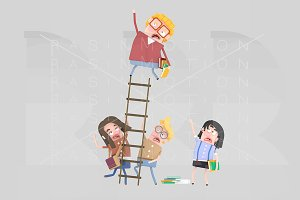 3d. Worried students on a ladder