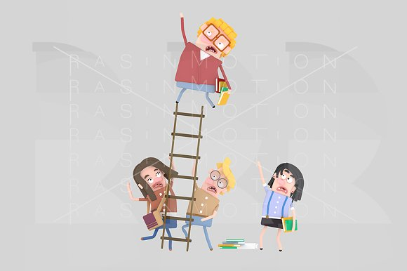 3D Worried Students On A Ladder