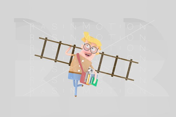 3D Young With Many Books And Ladder