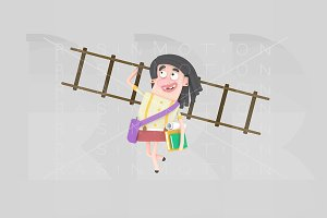 3d. Girl with books and ladder.