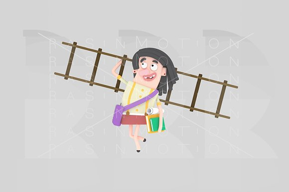 3D Girl With Books And Ladder