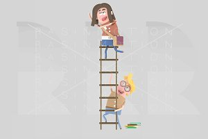 3d. Boy student holding ladder
