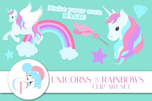 Unicorns and Rainbows ClipArt Set