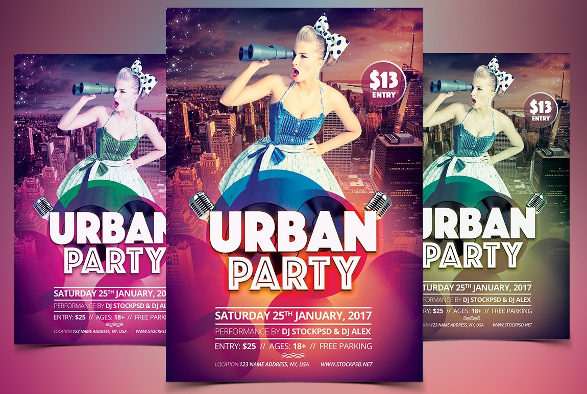 Urban party psd flyer template flyer templates creative market saigontimesfo