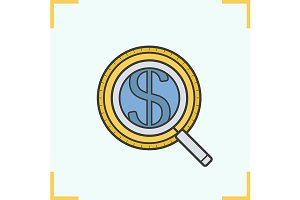Magnifying glass icon. Vector