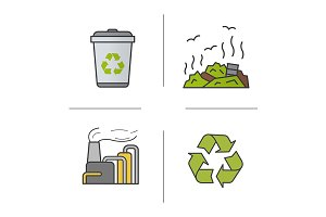 Waste management. 4 icons. Vector
