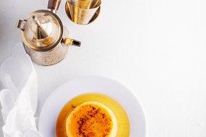 Creme caramel and coffee