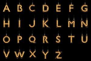 Alphabet light bulb font A-Z