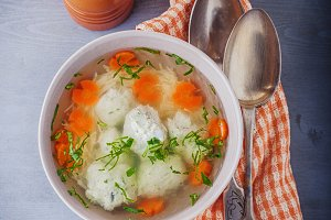 Chicken soup with meatballs and vegetables.
