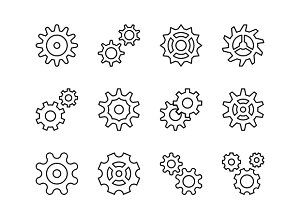 Cogwheel Line and Solid Icons