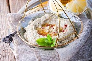 Baba ghanoush, eggplant dip, mediterranean food.