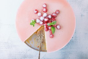 Raspberry yogurt cake decorated with the berries