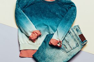 Blue jeans, Sweater and shirt