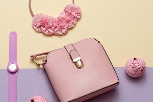 Fashion Accessories. Pink bag,