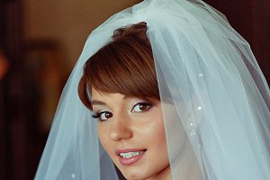 Awesome bride covered with a veil