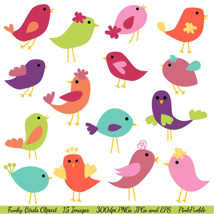 Funky Birds Vectors And Clipart