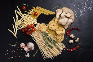 Dried pasta with fresh ingredients