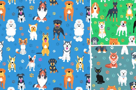 3 Seamless Backgrounds With Pets