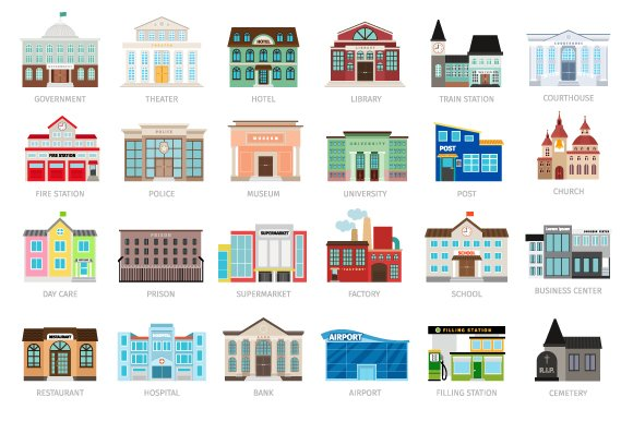 Colored Urban Building Icons