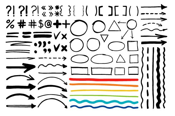Marker Pen Written Vector Shapes