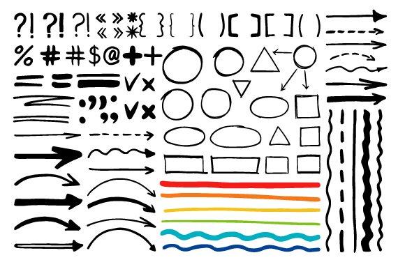 Marker Pen Written Vector Shapes