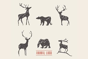 Deer and bears for a logotype