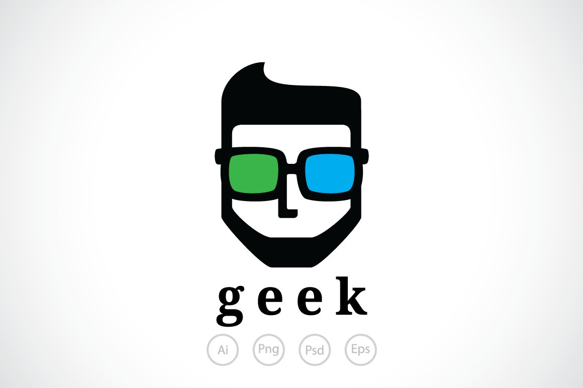 Manly Geek Logo Templates Creative Market