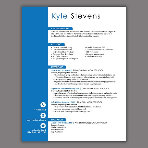 Masculine Resume Template
