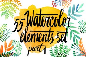 Watercolor floral elements1