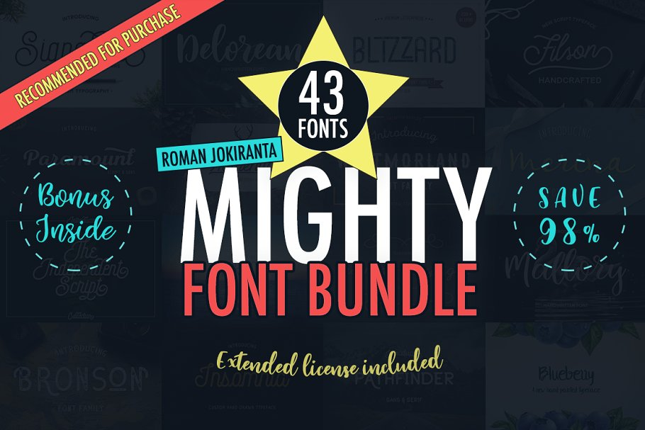 43 MIGHTY FONT BUNDLE • 98% OFF