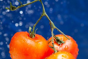 tomato in the drops of water