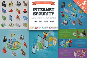 Internet Security Isometric Theme