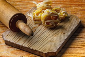 Rolling pin with pasta
