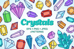 Crystals and gems illustrations