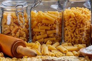 Still life of dry pasta