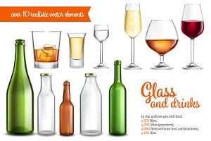 Realistic Glass and Bottles Set