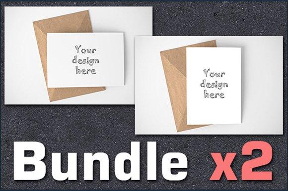 Bundle x2 basic card A6 mockups PSD